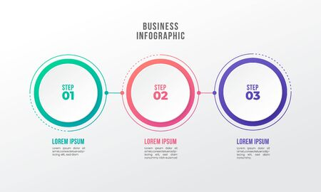 timeline infographic design element 3 step circle shape number options