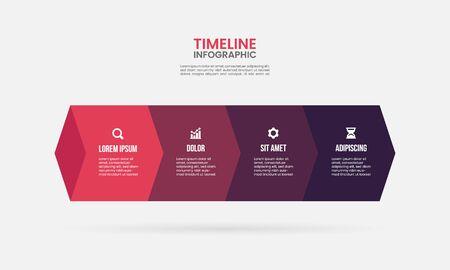 business process timeline infographics 4 steps design template Ilustração