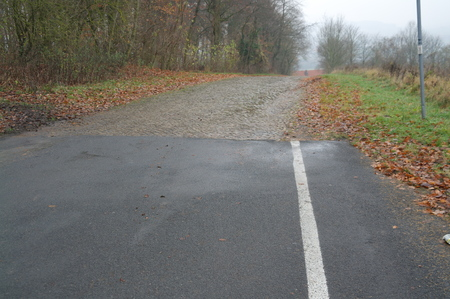 blacktop: Asphalt turns into a paved road. Fall.