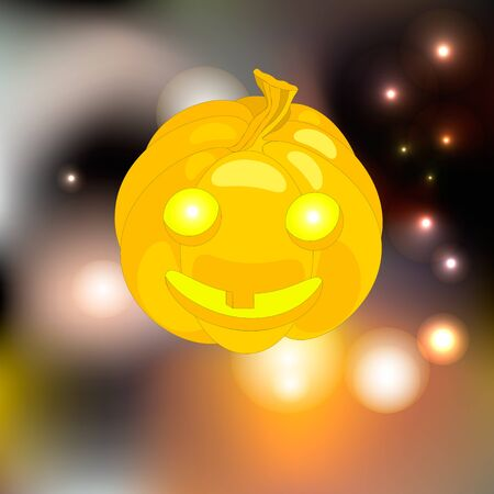cucurbit: glowing yellow pumpkin Halloween surrounded by fireflies
