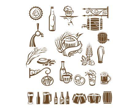 bottle cap opener: beer label collection set. Vector