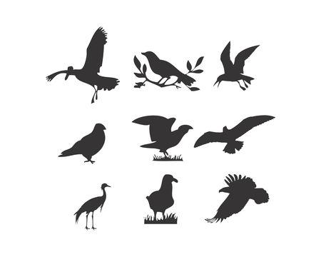 birds silhouette logo icon vector
