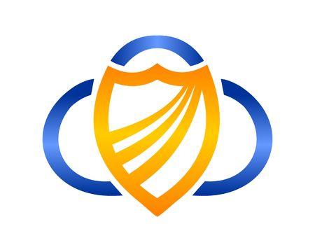 cloud shield logo vector