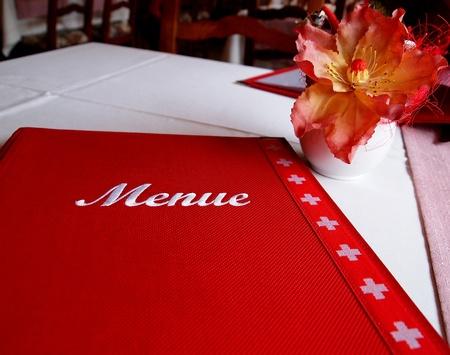restuarant: Red color menu cover of Swiss restuarant