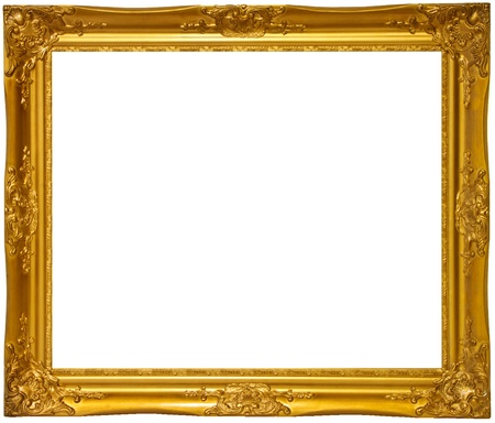 antique frame: Gold color wooden photo frame Stock Photo