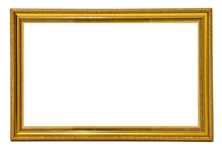 glod: Glod color wooden photo frame Stock Photo