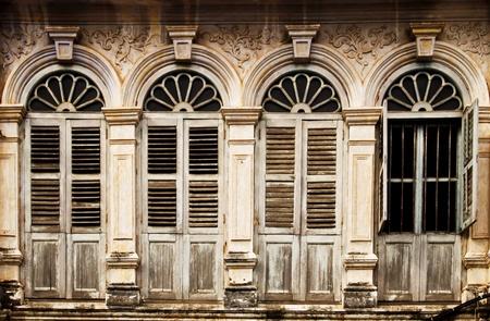 Old windows in Shino-Portugese style, Phuket Thailand photo