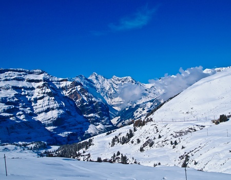 jungfraujoch: Panoramic view of mountains on the way to Jungfrau, Switzerland