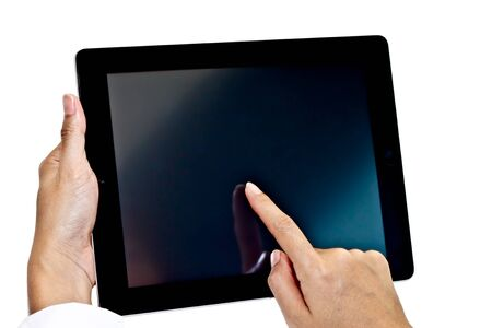Tablet PC with hands photo