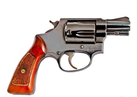 Isolated old revolver handgun, studio shot