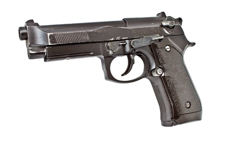 Isolated semi automatic hand gun, studio shot photo