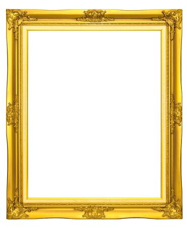 mirror frame: Old golden wood photo frame Stock Photo
