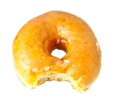 doughnut: Donut with Bite Missing Isolated on a White Background  Stock Photo