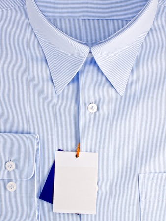 New blue shirt with blank label Stock Photo - 10306360