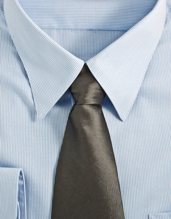 A new blue shirt with necktie photo
