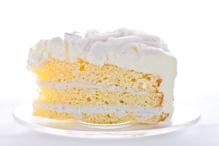 layer cake: A  piece of coconut cake