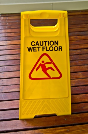 mopped: Sign showing warning of caution wet floor