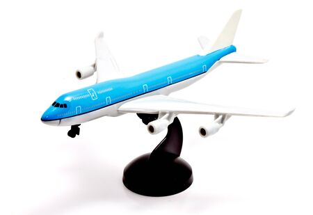 boeing: a blue commercial model aircraft Stock Photo