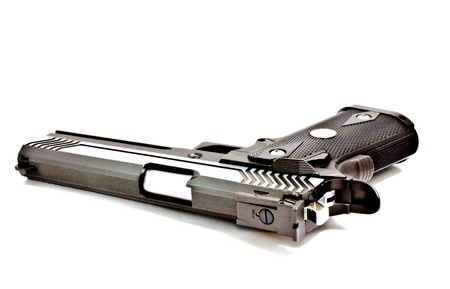 handgun: .45 semi automatic handgun Stock Photo