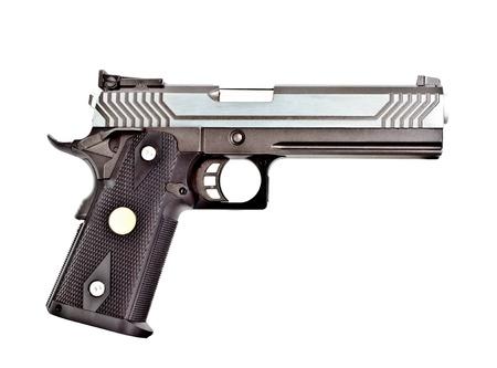 45 ammo: .45 semi automatic handgun Stock Photo