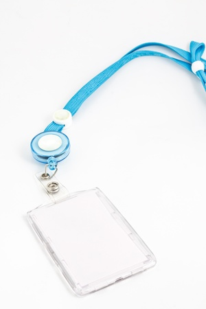 holders: blank ID card holder on white Stock Photo