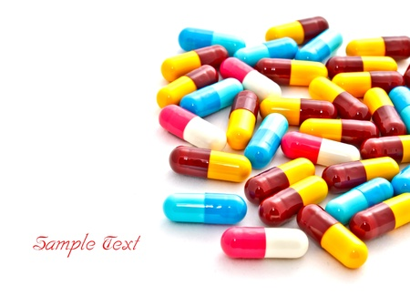 eat right: coloful pills on white background Stock Photo
