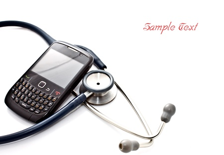 old cell phone: stethoscope and smart phone Stock Photo