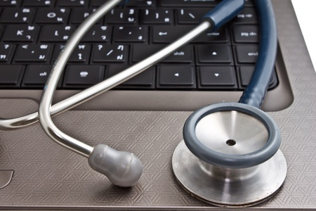 tele: laptop computer and stethoscope