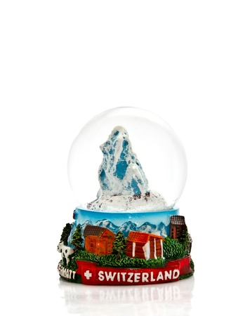 swiss mountain snow ball souvenir photo