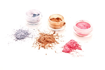 close up eyes: colorful makeup set  on white background