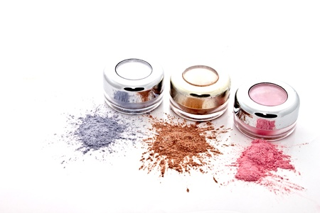 make up eyes: colorful makeup set  on white background