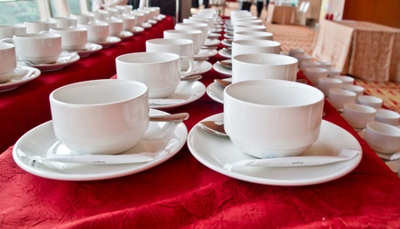 breakfast hotel: rows of coffee cups for coffee break