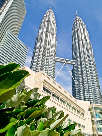 malaysia culture: Petronas twin towers with blue sky, Kuala Lumpur