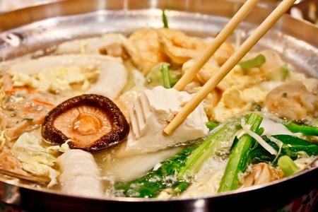 hot pot of sukiyaki in Chinese restuarant photo