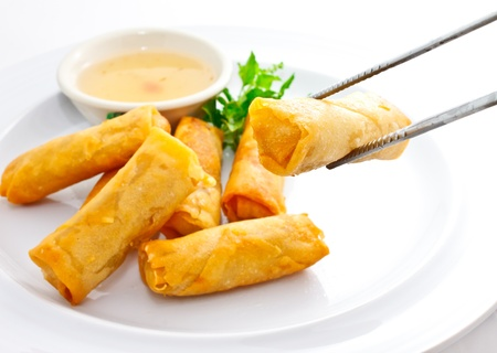 international food: springroll with sweet plum sauce