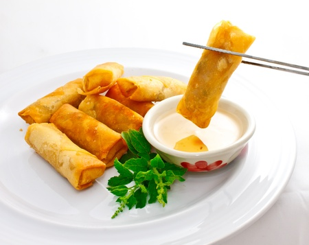 dipping: springroll with sweet plum sauce