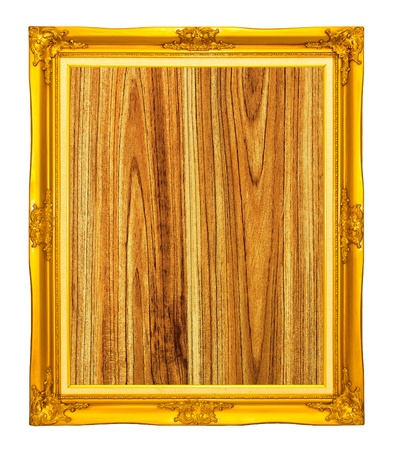 golden photo frame with wood grain background Stock Photo - 11744243