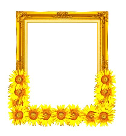 golden photo frame decorated with sunflower photo