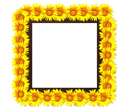 wooden frame decorated with sunflowers photo