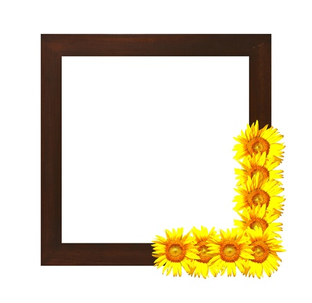 wooden frame decorated with sunflower photo