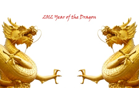 twin goldren dragons for 2012 new year festival photo