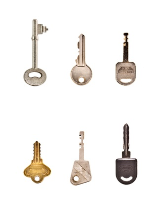collection of keys in white background Stock Photo - 11866374