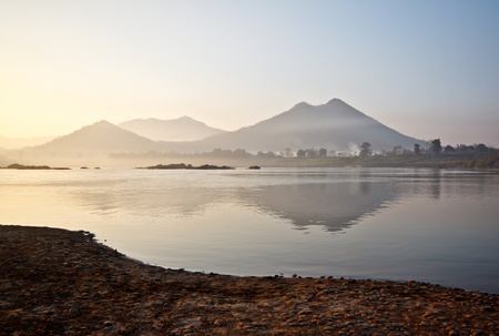 kong river: landscape of Mae Kong river in the morning time, Thailand Stock Photo