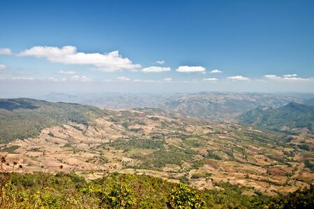 agricultural area: landscape of agricultural area from the top of a hill, Thailand