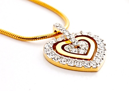 heart shape diamonds locket on white background Stock Photo - 12345381