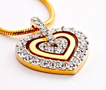 diamond shaped: heart shape diamonds locket on white background