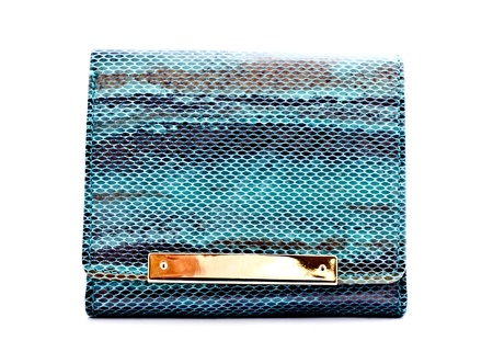 snake leather wallet on white background photo