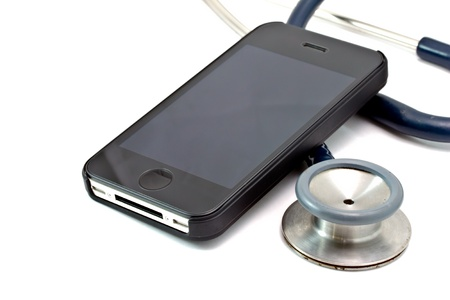 cell damage: medical concept, smart phone and stethoscope - diagnosing the problem via mobile phone  Stock Photo
