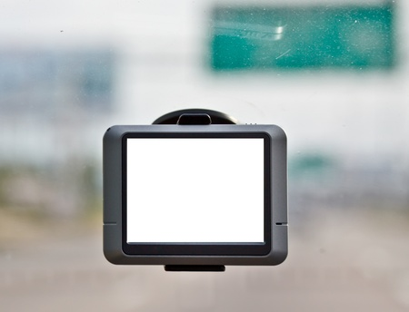 global positioning system: blank screen of GPS navigator in a car drving on high way