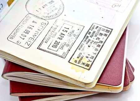 citizenship: passports with stamps